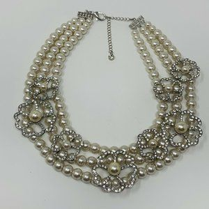 CHARMING CHARLIE BIB NECKLACE FAUX PEARLS …